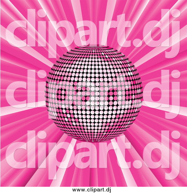 Vector Clipart of a Pink Disco Ball Suspended over a Pink Bursting Background