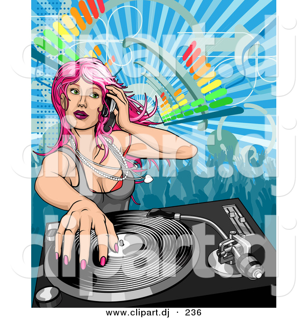 Vector Clipart of a Pink Haired Dj Girl Mixing a Record
