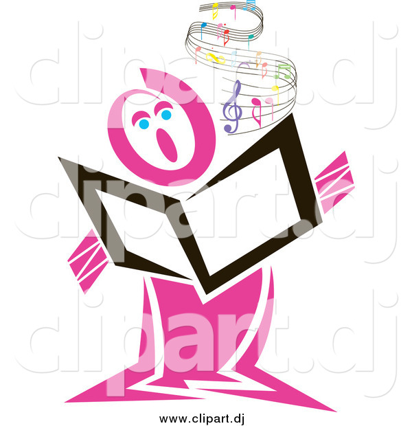 Vector Clipart of a Pink Singer with Flowing Sheet Music