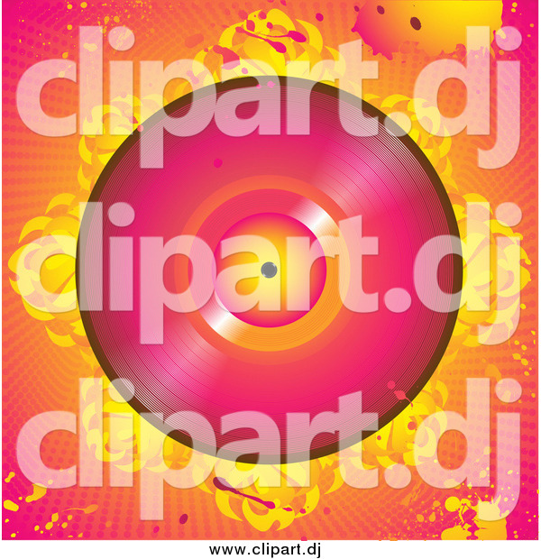 Vector Clipart of a Pink Vinly Record with Flames, over a Grunge Pink and Orange Background with Splatters and Dots
