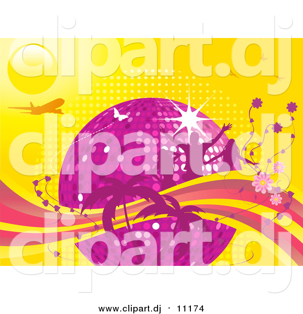 Vector Clipart of a Purple Disco Ball Surrounded by People, Flowers and Palm Trees with an Airplane and Butterflies on a Yellow Background