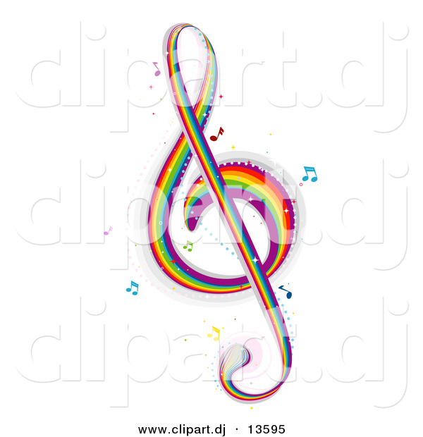 Vector Clipart of a Rainbow Colored G Clef Music Note