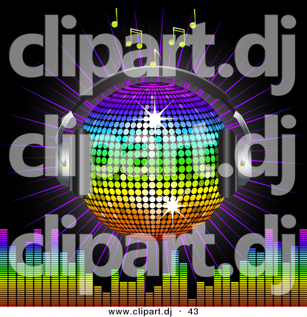 Vector Clipart of a Rainbow Disco Ball Globe with Headphones with Music Notes, a Burst and a Equalizer Bars, on Black