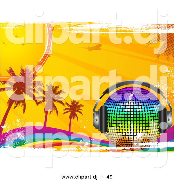 Vector Clipart of a Rainbow Disco Ball with Headphones on a Grunge Rainbow with Palm Trees, Sunshine