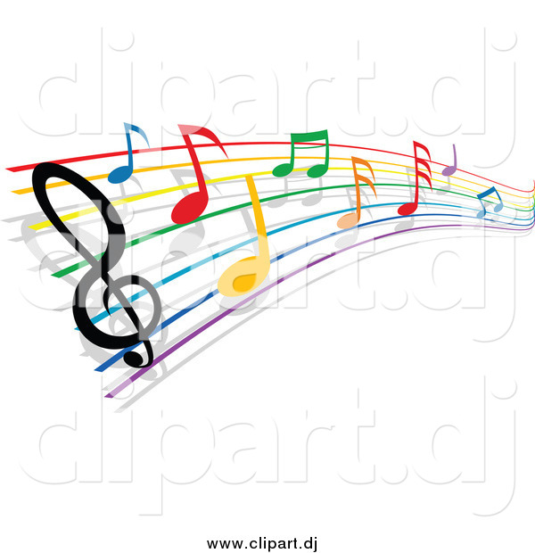 Vector Clipart of a Rainbow Staff and Colorful Music Notes