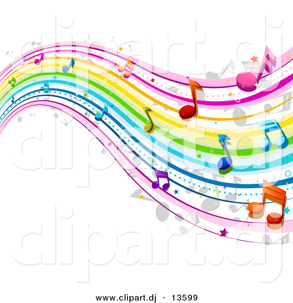Vector Clipart of a Rainbow Waves with Music Notes - Background DesignRainbow Waves with Music Notes - Background Design