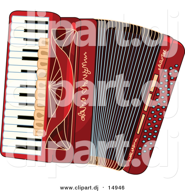 Vector Clipart of a Red Accordion