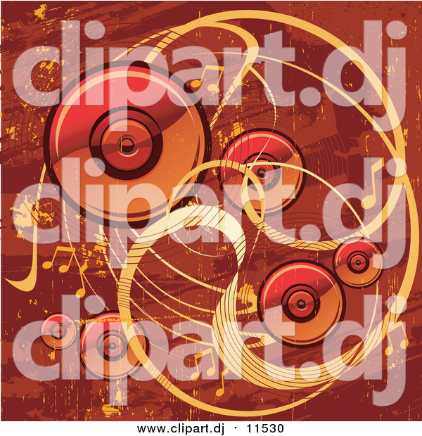 Vector Clipart of a Red and Orange Grunge Music Background with Speakers, Waves and Music Notes