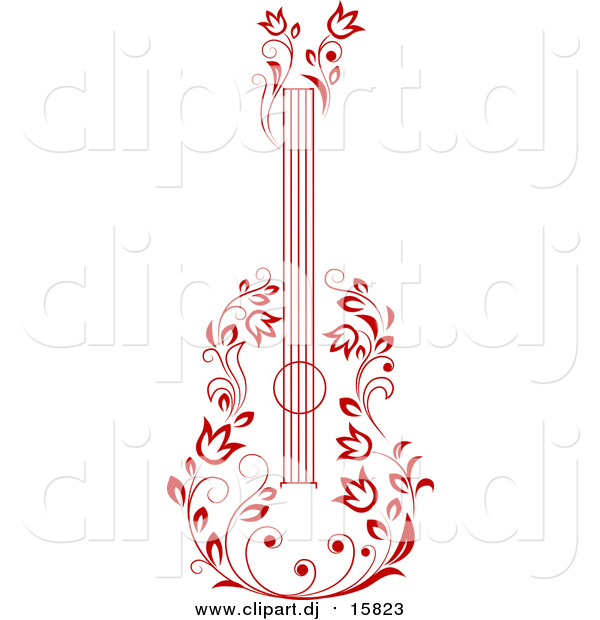 Vector Clipart of a Red Floral Guitar
