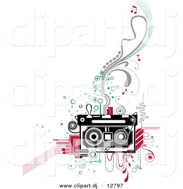 Vector Clipart of a Retro Cassette Tape Player over Abstract Designs