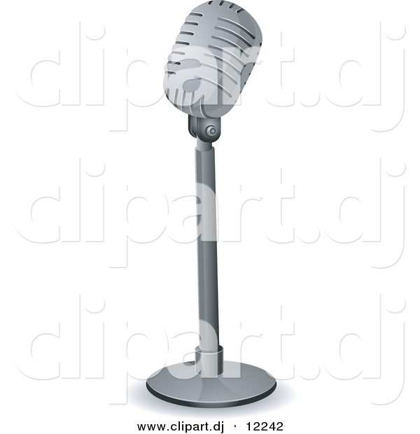 Vector Clipart of a Retro Microphone on a Stand