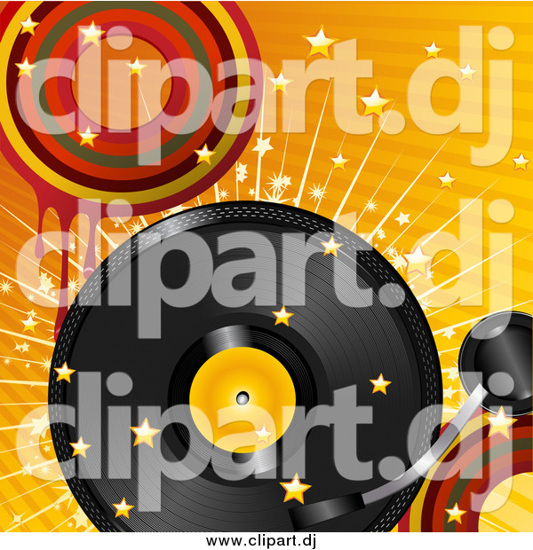 Vector Clipart of a Retro Vinyl Record Turning over a Bursting Retro Orange Background with Stars and Dripping Circles