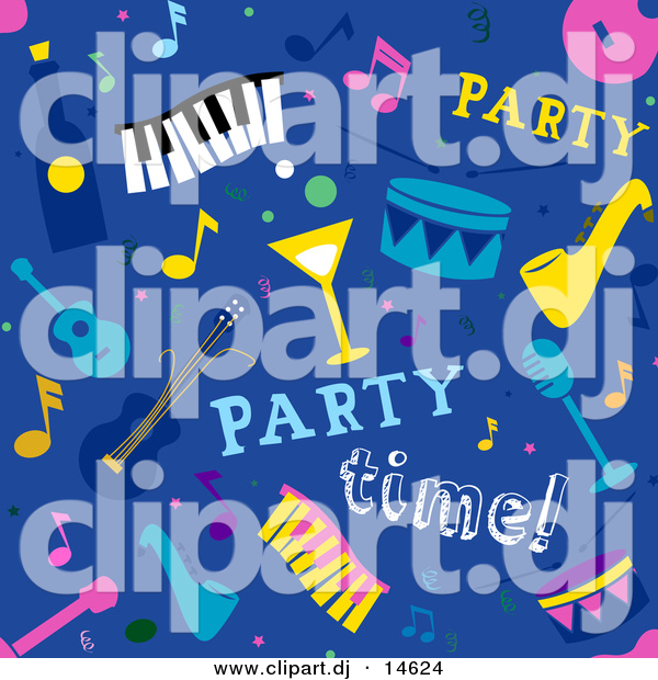Vector Clipart of a Seamless Blue Music Themed Party Background