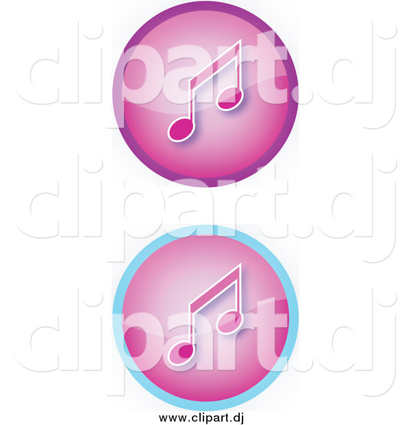 Vector Clipart of a Set of Two Purple Music Icon Buttons with Music Notes