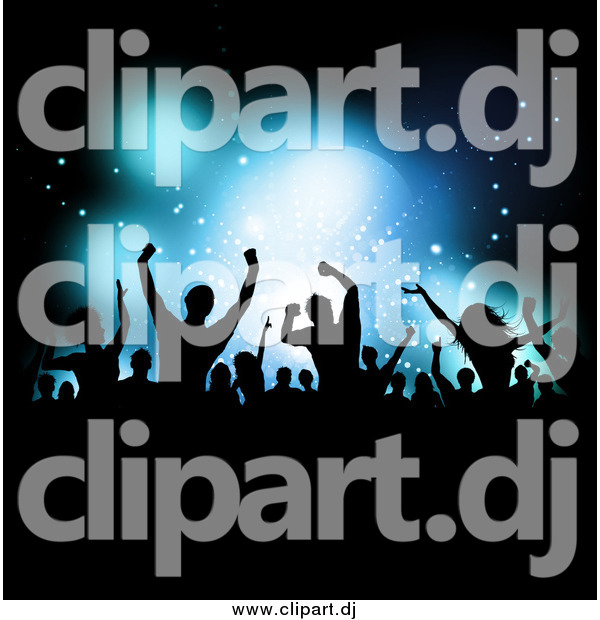 Vector Clipart of a Silhouetted Crowd Dancing over Blue Stage Lighting