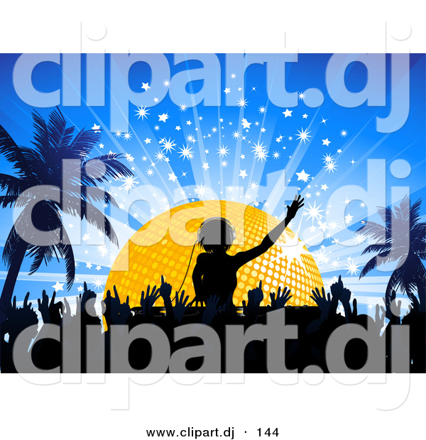 Vector Clipart of a Silhouetted Crowd Dancing to DJ Playing Music in Front of a Golden Disco Ball at Night with Palm Trees