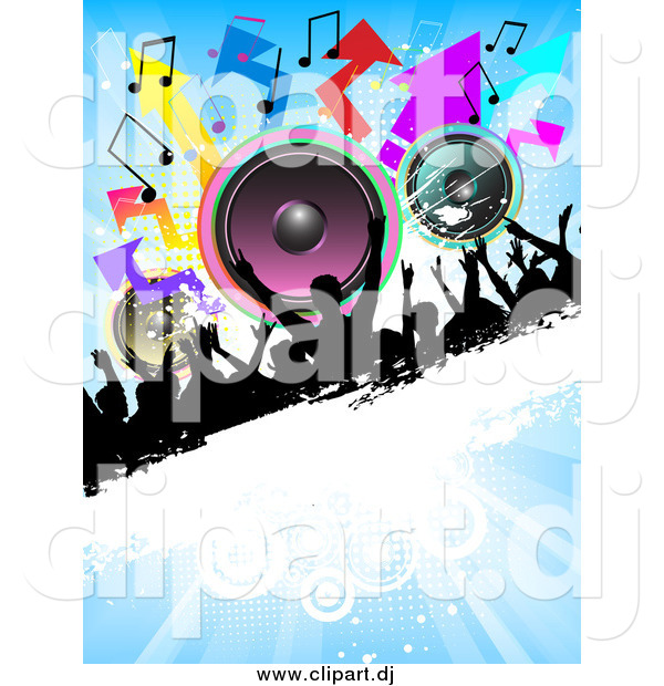 Vector Clipart of a Silhouetted Crowd on a Grunge Bar with Colorful Speakers, Arrows and Music Notes on a Blue Background