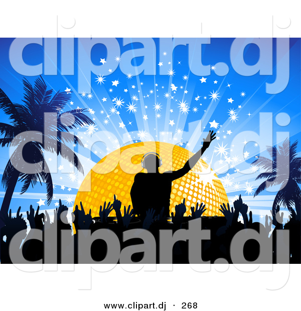 Vector Clipart of a Silhouetted Crowd on Dance Floor Below Male Dj Mixing Music