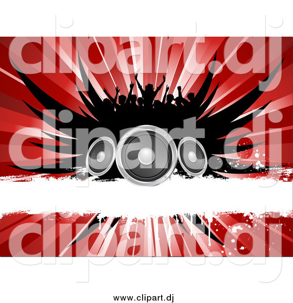 Vector Clipart of a Silhouetted Crowd over Black Wings, Speakers, a White Grunge Bar and a Red Burst