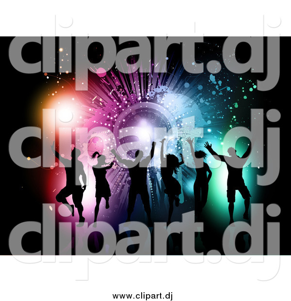 Vector Clipart of a Silhouetted Dance Group Against a Grungy Colorful Burst on Black