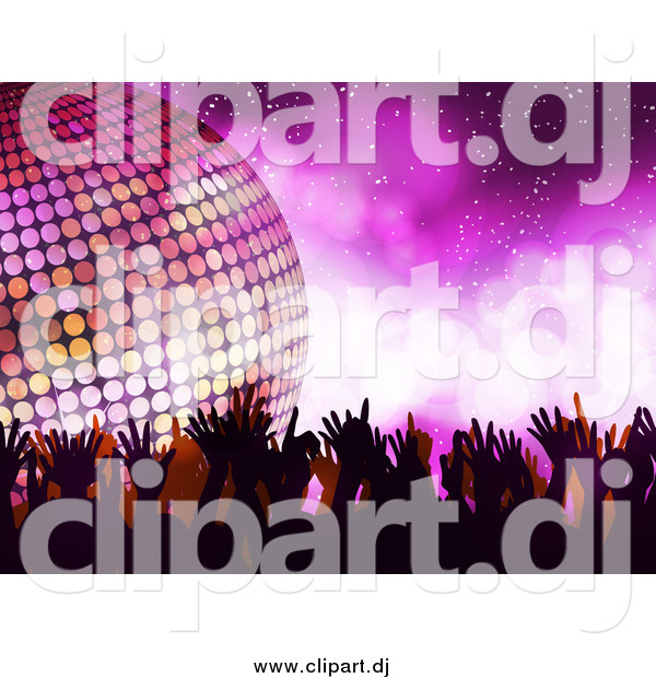Vector Clipart of a Silhouetted Dancers and a 3d Disco Ball over Purple