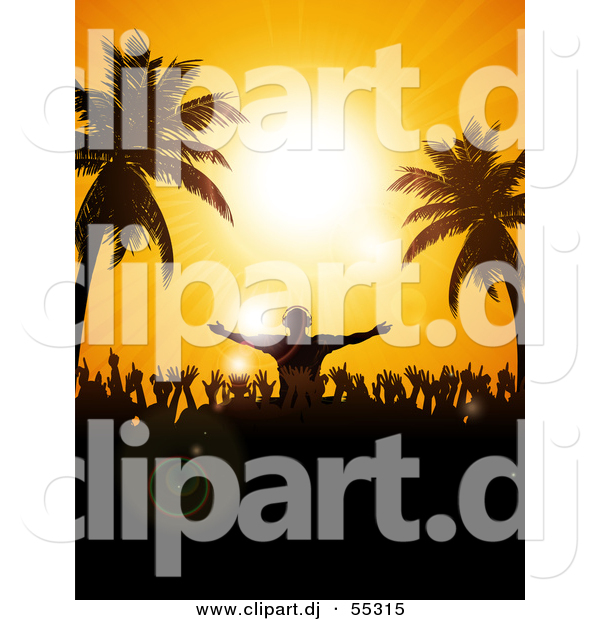 Vector Clipart of a Silhouetted Disk Jockey and Partygoers Against a Tropical Beach Sunset Sky with Palm Trees