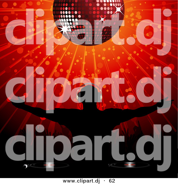Vector Clipart of a Silhouetted Disk Jockey Standing Below a Disco Ball with Arms out over Red Background