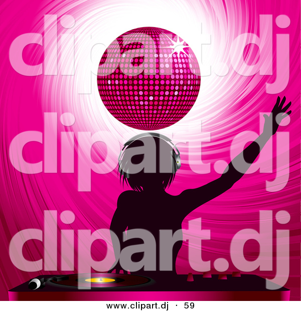 Vector Clipart of a Silhouetted Dj Girl Mixing Records Under a Pink Disco Ball
