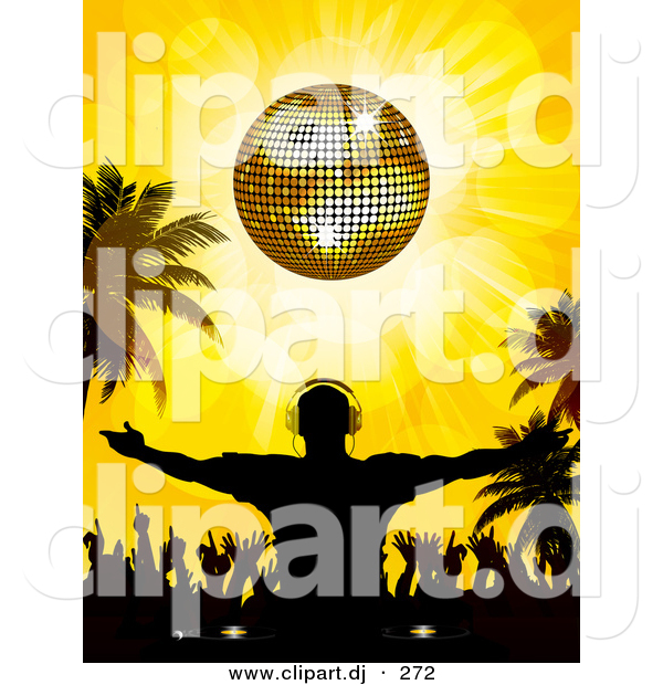 Vector Clipart of a Silhouetted Dj Guy Standing with Crowd of Dancers Under a Golden Disco Ball on a Tropical Beach