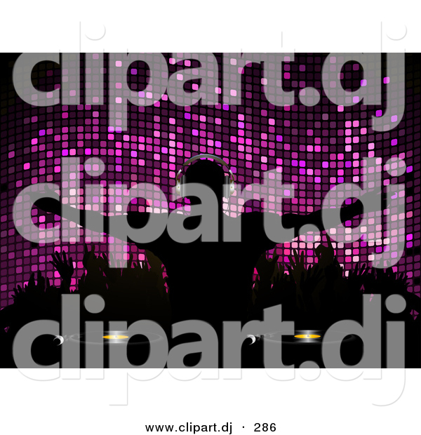 Vector Clipart of a Silhouetted Dj in Front of Purple Mosaic Background