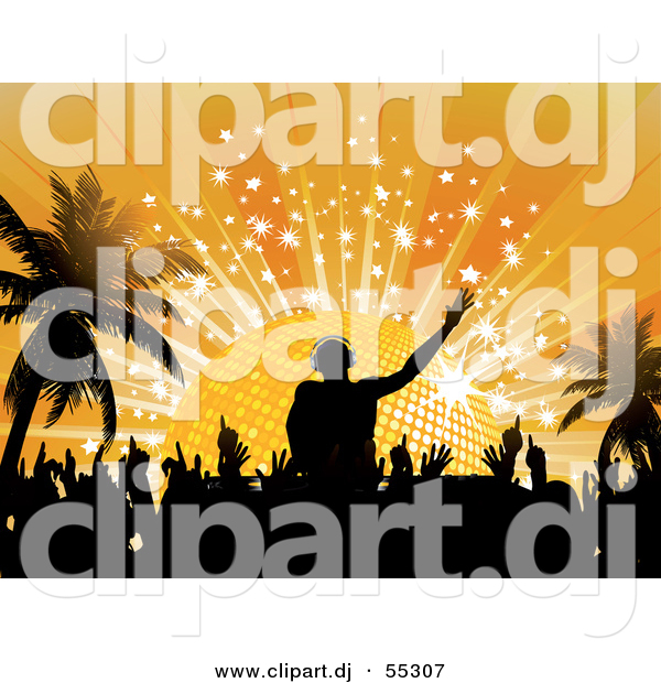 Vector Clipart of a Silhouetted DJ Mixing Music to a Crowd of People Dancing