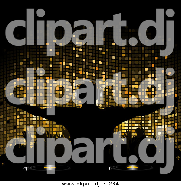Vector Clipart of a Silhouetted Dj over Gold Mosaic Background with Party People