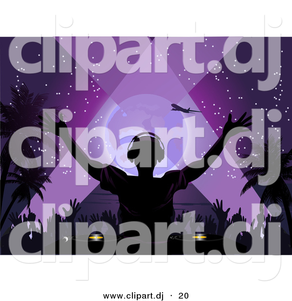 Vector Clipart of a Silhouetted Dj Playing Music at a Tropical Beach Party at Night