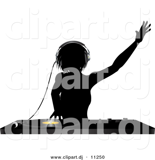 Vector Clipart of a Silhouetted Female DJ Mixing a Record on a Turntable While Dancing with Headphones on