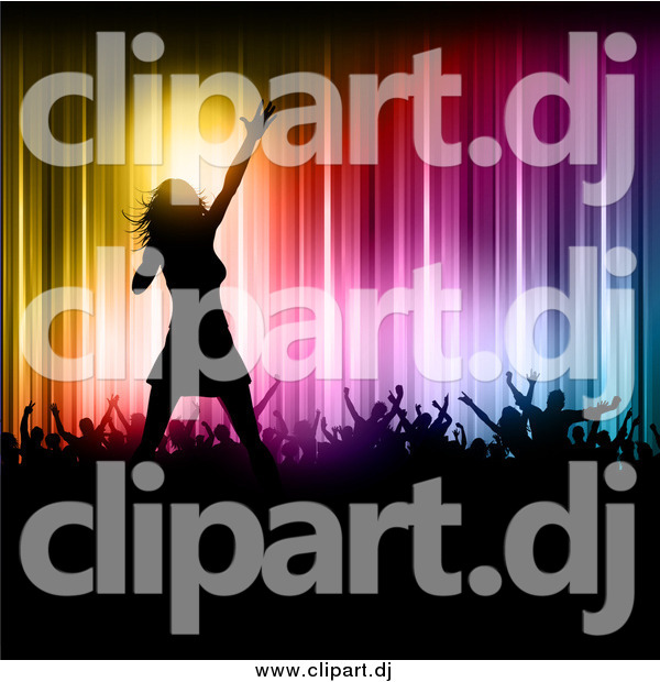 Vector Clipart of a Silhouetted Female Pop Singer on Stage with Fans Against Colorful Lights