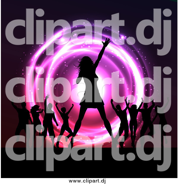 Vector Clipart of a Silhouetted Female Singer and Dancers on Stage at a Concert over Neon Lights