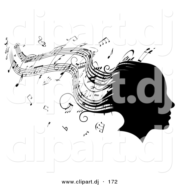 Vector Clipart of a Silhouetted Girl's Head with Music Sheet Signs Forming Her Hair