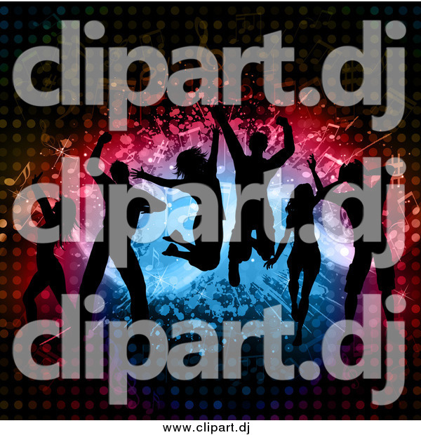 Vector Clipart of a Silhouetted Group of Dancers Jumping over Splatters Notes and Halftone