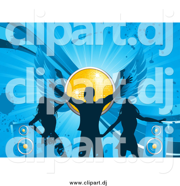 Vector Clipart of a Silhouetted Man and Ladies Dancing on a Blue Grunge Background with Speakers and a Winged Yellow Disco Ball
