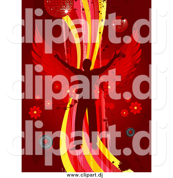 Vector Clipart of a Silhouetted Man with Wings, Dancing on a Wave over a Red Background with Splatters, Speakers, Flowers and Disco Balls