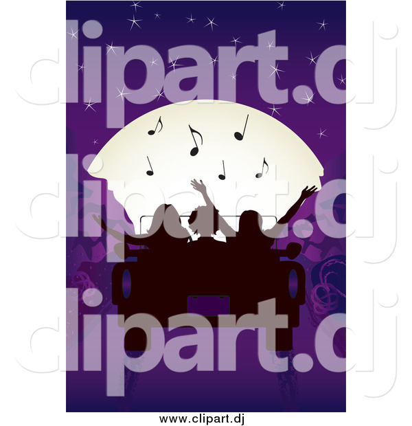Vector Clipart of a Silhouetted People Listening to Tunes and Looking at the Moon in a Convertible Car