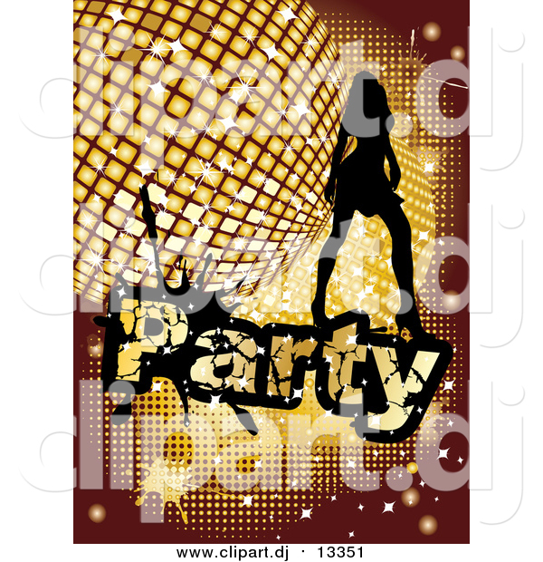 Vector Clipart of a Silhouetted Woman Dancing over a Golden Disco Party Background
