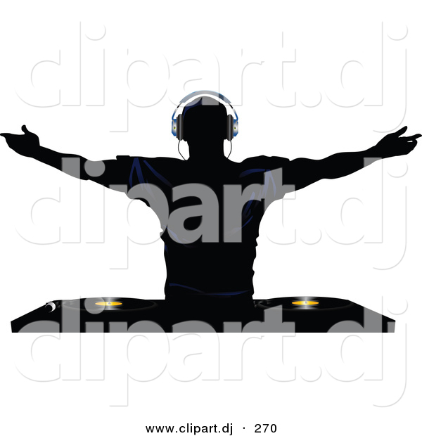 Vector Clipart of a Silhouetted Young Man Holding His Arm out Above Dual Record Mixer