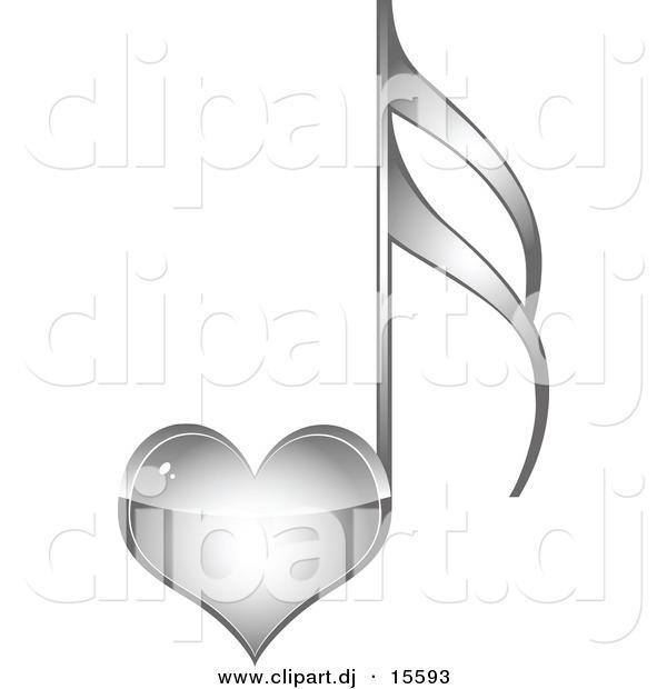 Silver love heart music note music clip art andrei marincas