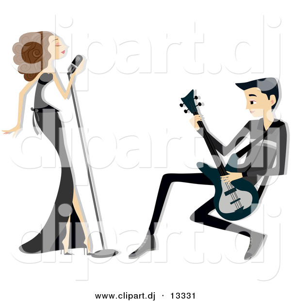 Vector Clipart of a Singer and Guitarist Performing Together - Cartoon Version