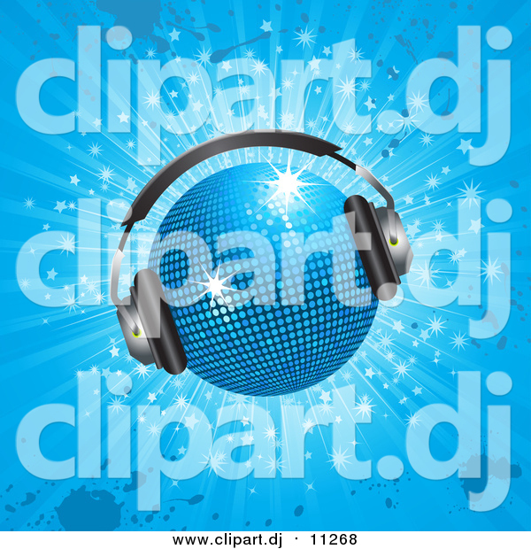 Vector Clipart of a Sparkling 3d Blue Disco Ball Wearing Headphones, over a Sparkling Blue Grunge Background