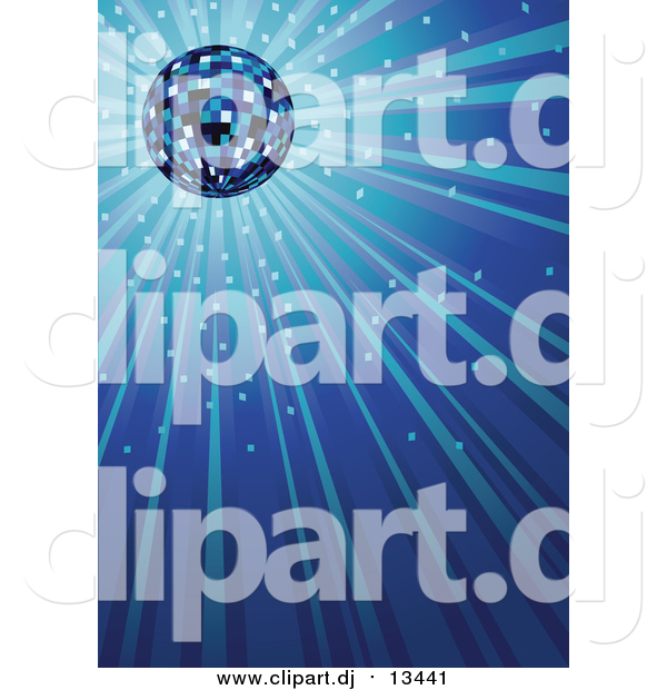 Vector Clipart of a Sparkling Blue Disco Ball Background