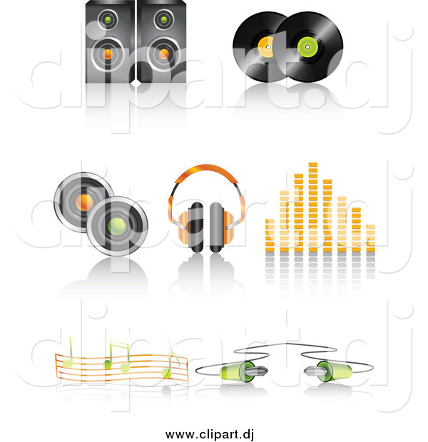 Vector Clipart of a Speaker, Vinyl Record Discs, Headphones, Volume Equalizer, Music Notes and Cable Icons with Shadows