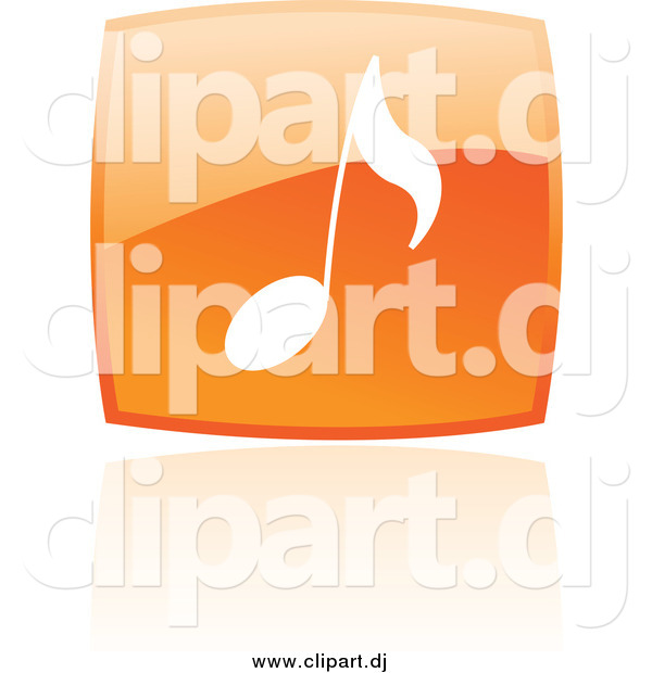 Vector Clipart of a Square Orange Music Note Icon and Reflection