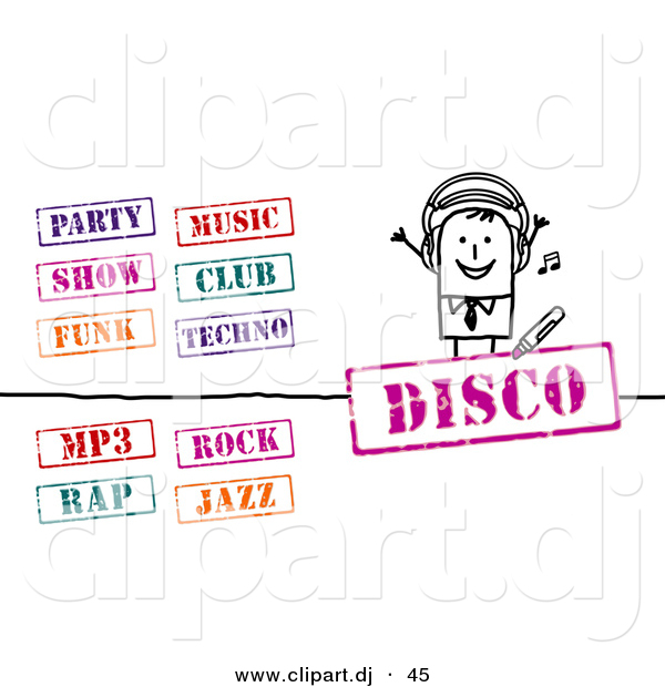 Vector Clipart of a Stick Figure Businessman with Music Stamps - Digital Collage